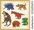 Vector set of animals in Australian aboriginal style. - stock vector
