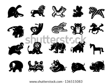 vector set of animals silhouette.eps10 - stock vector
