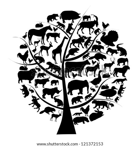 Vector set of animals silhouette on tree. - stock vector