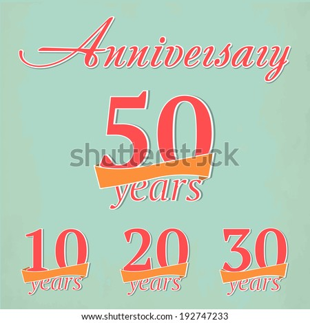 Vector set of anniversary signs - stock vector