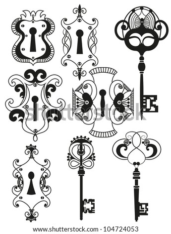 Vector Set of Antique Keys and Keyholes - stock vector