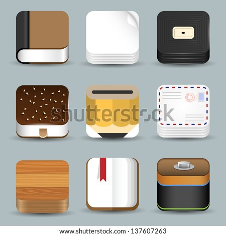 Vector set of App Icons - stock vector