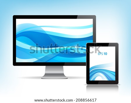 vector set of apple monitor and tablet pc with wavy abstract background - stock vector
