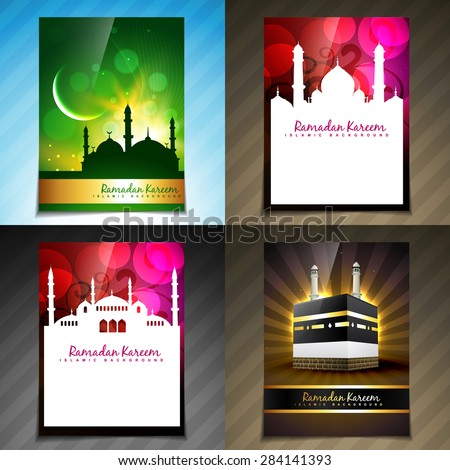 vector set of attractive brochure of ramadan festival illustration - stock vector