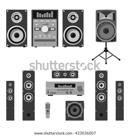Vector set of audio and music systems icons. Loudspeakers isolated on white background. - stock vector
