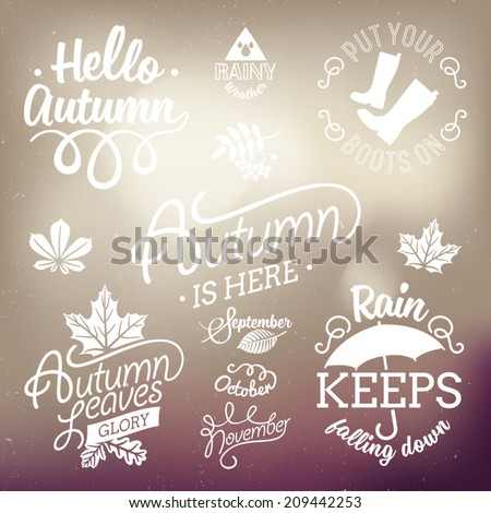 Vector set of autumn themed retro design elements | Fall vintage elements | Everything for the autumn text decoration | Hello Autumn, rain keeps falling down | Moody sky abstract background - stock vector