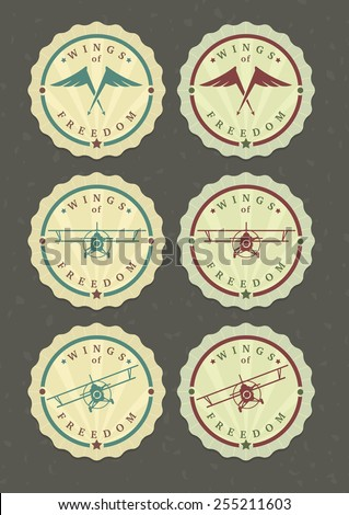 Vector set of aviator icons, wings and biplanes  - stock vector
