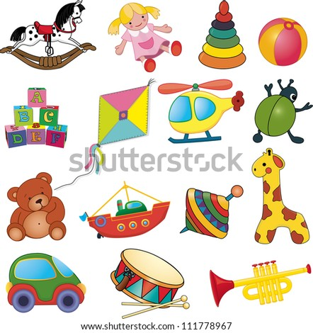 Vector set of baby's toys. - stock vector
