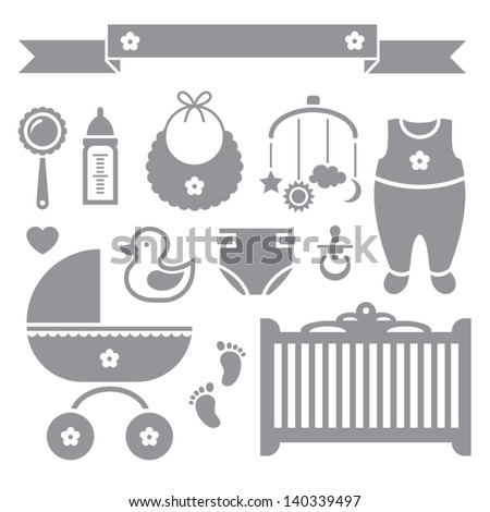 Vector set of baby symbols on white background - stock vector