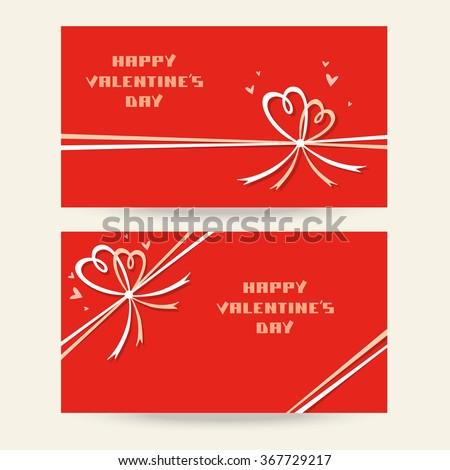 Vector set of background with bow in shape of two hearts. Valentine's day and wedding background. Template for greeting, invitation, discount card. Festive illustration for print, web - stock vector