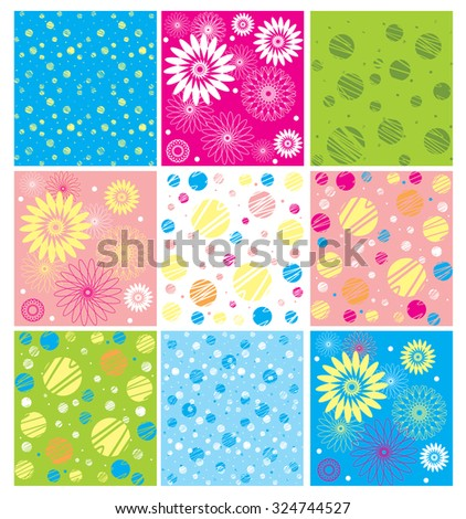 Vector set of backgrounds  in gentle, cheerful, fresh colors. The rectangles with polka dots, with circles, daisies, lines and so on.  - stock vector