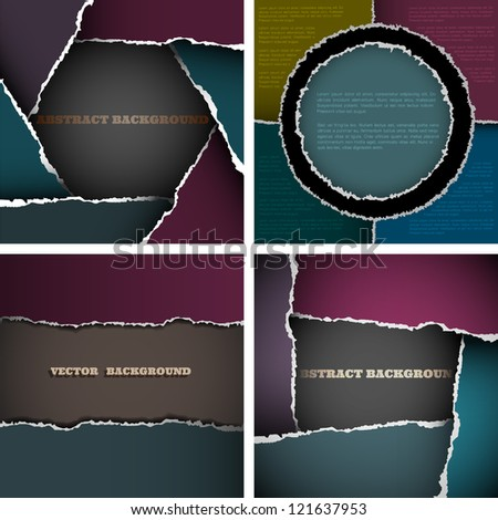 Vector set of backgrounds of torn paper - stock vector