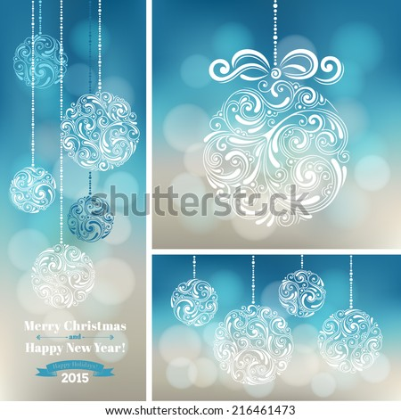 Vector set of backgrounds with christmas decoration for your design. Vintage ornamental balls on defocus background. Happy New Year greeting card - stock vector