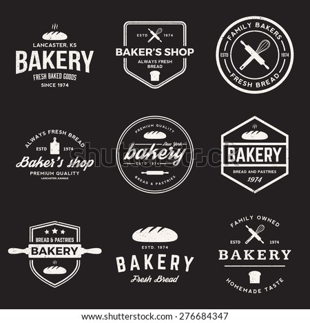 vector set of bakery labels, badges and design elements with grunge textures - stock vector