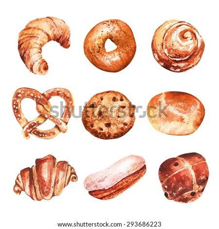 Vector set of baking in watercolor style. Muffins, bagels, croissants, pastries, bagels and other baked goods. Vintage watercolor concept for  bakery or cafe. - stock vector