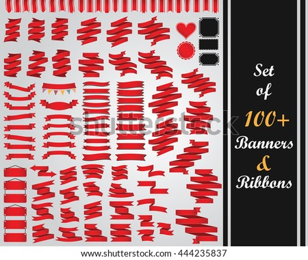Vector set of 100+ Banners and Ribbons in red color.  All elements are separated and can easily be edited. - stock vector