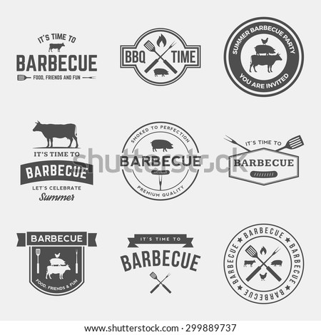 vector set of barbecue labels, badges and design elements - stock vector