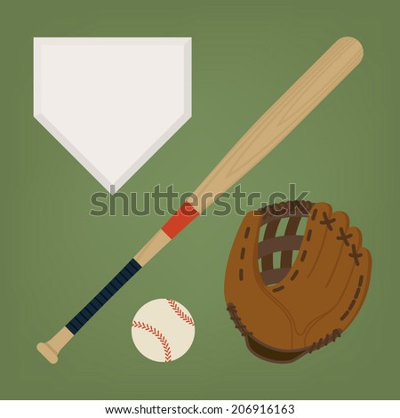 Vector set of baseball items featuring baseball bat, glove, home plate and ball - stock vector