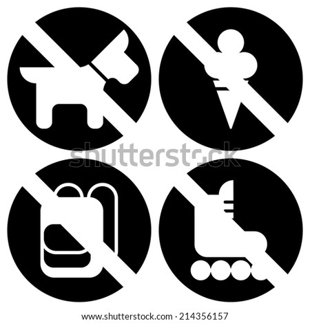 Vector set of basic black round restriction signs for your store or shop   Not allowed icons: no dogs, no ice cream, no backpacks, no skates - stock vector