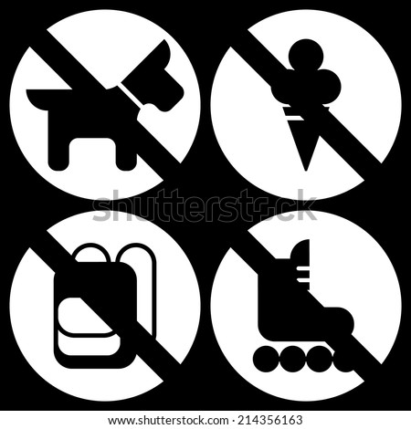 Vector set of basic white round restriction signs for your store or shop   Not allowed icons: no dogs, no ice cream, no backpacks, no skates - stock vector