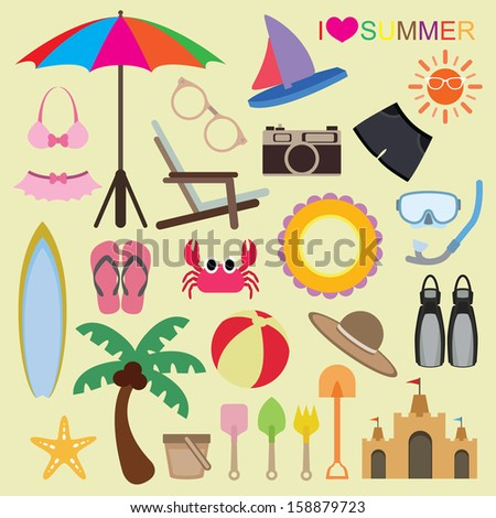 Vector set of beach icons on isolated background - stock vector