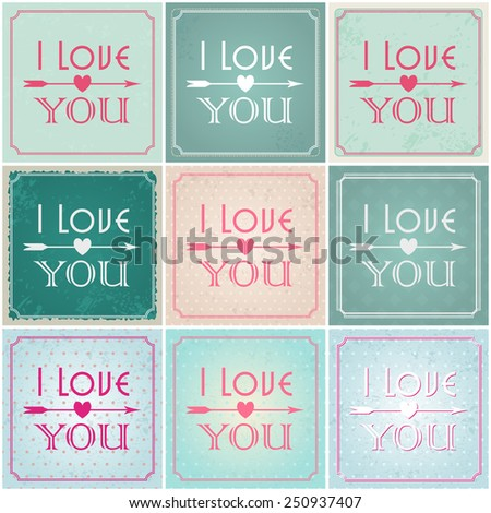 Vector set of beautiful hipster romantic Valentine's Day cards with typography illustrations - stock vector