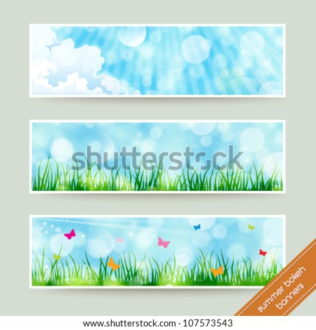 Vector set of beautiful summer themed soft bokeh nature banner illustrations. Jpeg version also available in gallery. - stock vector
