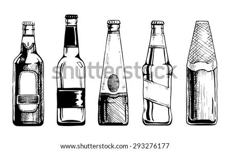 Vector set of beer bottles in ink hand drawn style. isolated on white. - stock vector