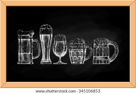 Vector set of beer glasses and mugs on blackboard background.  - stock vector