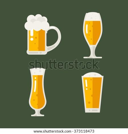 Vector set of beer icons. Beer bottle, glass, pint. Oktoberfest beer vector set. Flat illustration. - stock vector