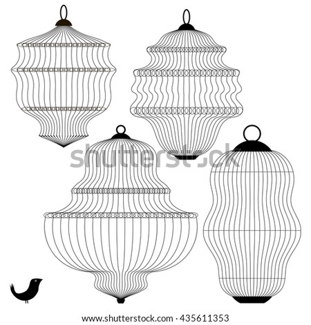 Vector Set of Bird Cages Isolated on White Background - stock vector