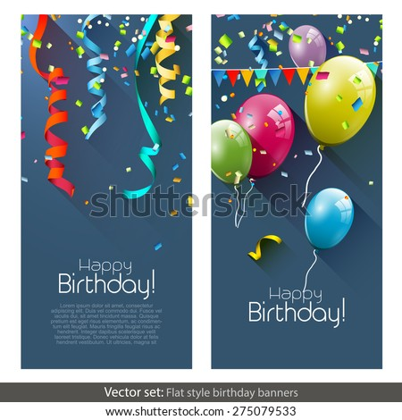 Vector set of birthday banners with colorful confetti and balloons - stock vector