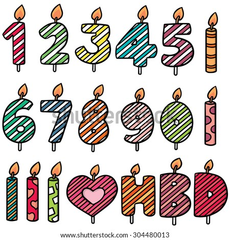 vector set of birthday candle - stock vector