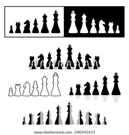 Vector set of black and white chess pieces - stock vector