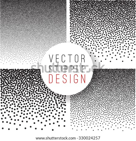 Vector set of black and white halftone background. stipple effect  - stock vector