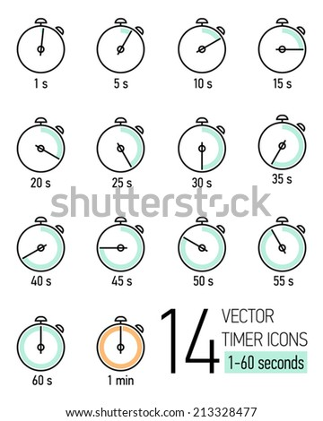Vector set of black and white stopwatch timer icons with light turquoise and orange colored time scale | Different time seconds interval icons | Fourteen stopwatch clock faces with seconds ticking   - stock vector