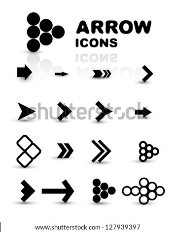 Vector set of black arrow icons isolated on white - stock vector