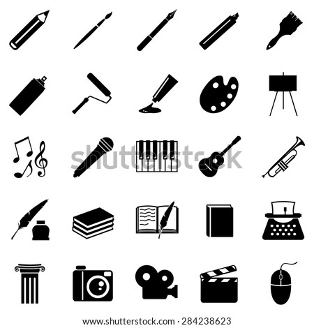 Vector Set of Black Art Icons. Drawing, Music, Writing and Other. - stock vector