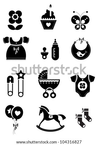 Vector set of black baby icons - stock vector