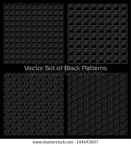 Vector set of black faceted patterns - stock vector