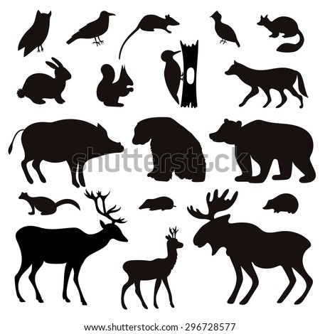 Vector Set of Black Forest Animals and Birds Silhouettes. Hand drawn vector illustration. - stock vector