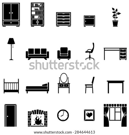Vector Set of 20 Black Furniture Icons - stock vector