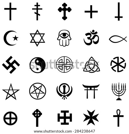 Vector Set of Black Religious Symbols - stock vector