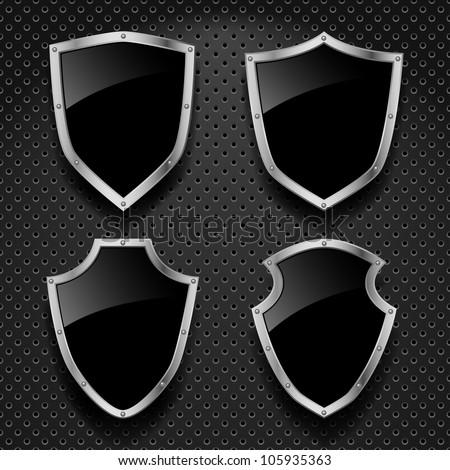 Vector set of black shields on metallic background - stock vector