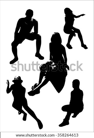 Vector set of black silhouettes of girls and man in sitting poses full growth. Women poses on a white background in vector format. - stock vector