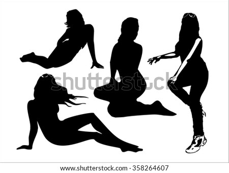 Vector set of black silhouettes of girls in sitting poses full growth. Women in elegant poses on a white background in vector format. - stock vector