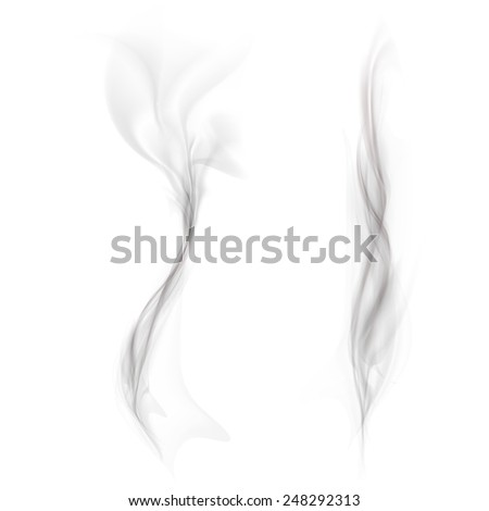 vector set of black smoke isolated on a white background - stock vector
