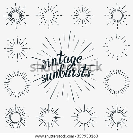 Vector Set of Black Sunbursts Graphic Elements. Vintage labels Isolates on White For Invitations, Greeting Cards, Posters. - stock vector