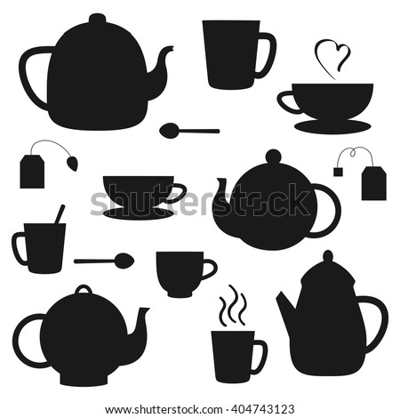 Vector set of black tea pots and cups silhouettes - stock vector