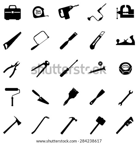 Vector Set of 25 Black Tool Icons - stock vector